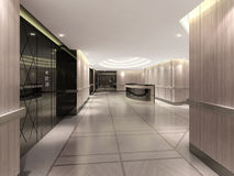 τρισδιάστατη απεικόνιση του διαδρόμου ξενοδοχείων στοκ εικόνες με δικαίωμα ελεύθερης χρήσης