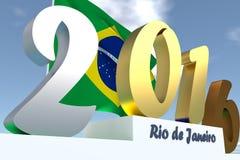 τρισδιάστατη απεικόνιση του καλοκαιριού 2016 Ρίο ντε Τζανέιρο διανυσματική απεικόνιση