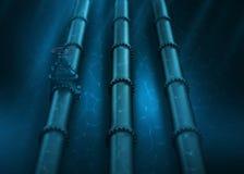 τρισδιάστατη απεικόνιση του πετρελαιαγωγού που βρίσκεται στο ωκεάνιο κατώτατο σημείο κάτω από το νερό Στοκ εικόνα με δικαίωμα ελεύθερης χρήσης