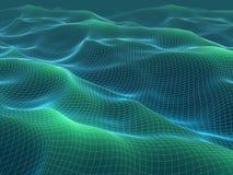 τρισδιάστατη απεικόνιση του πλέγματος κυμάτων wireframe αφηρημένο τοπίο ελεύθερη απεικόνιση δικαιώματος