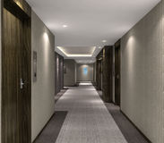 τρισδιάστατη απεικόνιση του σύγχρονου διαδρόμου ξενοδοχείων στοκ φωτογραφία