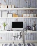 τρισδιάστατη απεικόνιση του σύγχρονου προτύπου υπολογιστών, χλεύη χώρου εργασίας επάνω, Στοκ φωτογραφία με δικαίωμα ελεύθερης χρήσης