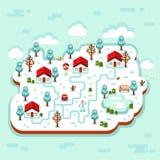 τρισδιάστατη απεικόνιση του χειμερινού χωριού διανυσματική απεικόνιση