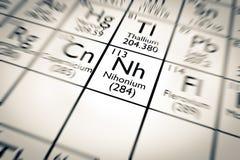 τρισδιάστατη απεικόνιση του χημικού στοιχείου Nihonium διανυσματική απεικόνιση