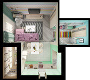 τρισδιάστατη απεικόνιση των μικρών διαμερισμάτων στα χρώματα κρητιδογραφιών Διανυσματική απεικόνιση