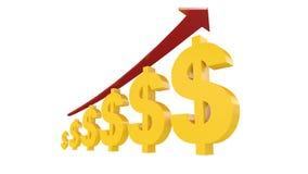 τρισδιάστατη απεικόνιση των συμβόλων αμερικανικών δολαρίων με το βέλος αύξησης στοκ εικόνες με δικαίωμα ελεύθερης χρήσης