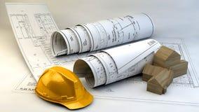 τρισδιάστατη απεικόνιση των σχεδιαγραμμάτων, του προτύπου σπιτιών και του εξοπλισμού κατασκευής Στοκ Εικόνες