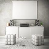 Τρισδιάστατη απεικόνιση δωματίων διαβίωσης άσπρη Στοκ Εικόνες