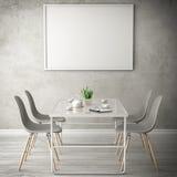 Τρισδιάστατη απεικόνιση δωματίων διαβίωσης άσπρη Στοκ φωτογραφία με δικαίωμα ελεύθερης χρήσης