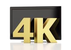 τρισδιάστατη απεικόνιση 4K TV UltraHD απομονωμένο έννοια λευκό τεχνολογίας Στοκ φωτογραφίες με δικαίωμα ελεύθερης χρήσης