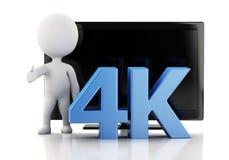 τρισδιάστατη απεικόνιση 4K TV UltraHD απομονωμένο έννοια λευκό τεχνολογίας Στοκ φωτογραφία με δικαίωμα ελεύθερης χρήσης