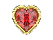 τρισδιάστατη απομονωμένη απεικόνιση ροδοκόκκινη καρδιά διαμαντιών στο χρυσό πλαίσιο Στοκ Εικόνα