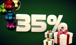 τρισδιάστατη απόδοση απεικόνισης της πώλησης Χριστουγέννων έκπτωση 35 τοις εκατό Στοκ φωτογραφία με δικαίωμα ελεύθερης χρήσης