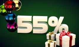 τρισδιάστατη απόδοση απεικόνισης της πώλησης Χριστουγέννων έκπτωση 55 τοις εκατό Στοκ Φωτογραφία
