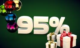 τρισδιάστατη απόδοση απεικόνισης της πώλησης Χριστουγέννων έκπτωση 95 τοις εκατό Στοκ Εικόνες