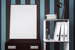 τρισδιάστατη απόδοση: απεικόνιση της άσπρης χλεύης επάνω στο πλαίσιο Υπόβαθρο Hipster πλαστό επάνω άσπρο πλαίσιο αφισών ή εικόνων Στοκ Φωτογραφίες