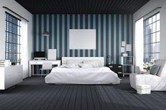 τρισδιάστατη απόδοση: απεικόνιση της μεγάλης ευρύχωρης κρεβατοκάμαρας στο μπλε και μαύρο χρώμα μεγάλο άνετο διπλό κρεβάτι στην κο Στοκ εικόνα με δικαίωμα ελεύθερης χρήσης
