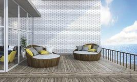 τρισδιάστατη απόδοση γύρω από τον καναπέ στο πεζούλι σανίδων κοντά στη θάλασσα Στοκ φωτογραφία με δικαίωμα ελεύθερης χρήσης