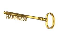 τρισδιάστατη απόδοση ενός εκλεκτής ποιότητας χρυσού κλειδιού με την ευτυχία διανυσματική απεικόνιση