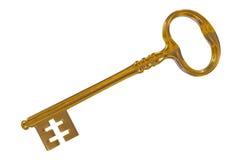 τρισδιάστατη απόδοση ενός εκλεκτής ποιότητας χρυσού κλειδιού στο λευκό Στοκ Εικόνες