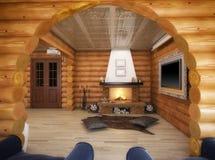 τρισδιάστατη απόδοση ενός καθιστικού στο σπίτι από τα κούτσουρα Διανυσματική απεικόνιση