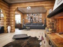 τρισδιάστατη απόδοση ενός καθιστικού στο σπίτι από τα κούτσουρα Στοκ Εικόνες