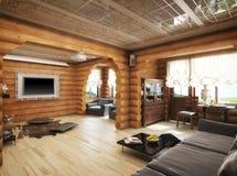 τρισδιάστατη απόδοση ενός καθιστικού στο σπίτι από τα κούτσουρα Στοκ εικόνα με δικαίωμα ελεύθερης χρήσης