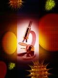 τρισδιάστατη απόδοση ενός μικροσκοπίου Στοκ εικόνα με δικαίωμα ελεύθερης χρήσης