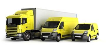 τρισδιάστατη απόδοση ενός φορτηγού ένα φορτηγό και ένα φορτηγό ενάντια σε ένα άσπρο backgr Στοκ εικόνα με δικαίωμα ελεύθερης χρήσης