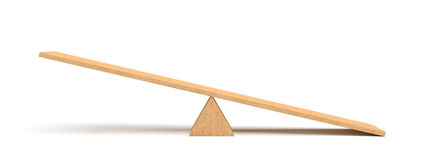 τρισδιάστατη απόδοση ελαφρύ ξύλινο seesaw με τη δεξιά πλευρά που κλίνει στο έδαφος στο άσπρο υπόβαθρο διανυσματική απεικόνιση