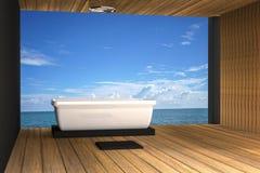 τρισδιάστατη απόδοση: η απεικόνιση του λουτρού τζακούζι υποστηρίζει στο ξύλινο δωμάτιο την υπαίθρια άποψη θάλασσας ύφους απεικόνιση αποθεμάτων