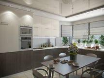 τρισδιάστατη απόδοση μιας κουζίνας στους μπεζ τόνους Διανυσματική απεικόνιση