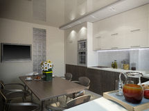 τρισδιάστατη απόδοση μιας κουζίνας στους μπεζ τόνους Απεικόνιση αποθεμάτων
