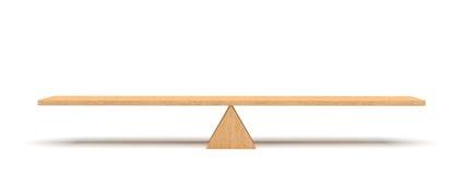 τρισδιάστατη απόδοση μιας ξύλινης σανίδας που ισορροπεί σε ένα ξύλινο τρίγωνο που απομονώνεται στο άσπρο υπόβαθρο διανυσματική απεικόνιση