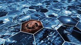 τρισδιάστατη απόδοση Τοίχος εικόνας στο κυψελωτό σχέδιο που συνδέει τον κόσμο Στοκ εικόνα με δικαίωμα ελεύθερης χρήσης