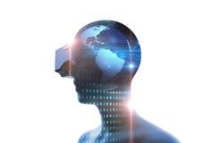 τρισδιάστατη απόδοση του εικονικού ανθρώπου στην κάσκα VR στη φουτουριστική τεχνολογία διανυσματική απεικόνιση