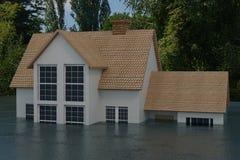 τρισδιάστατη απόδοση του μισού από ένα σπίτι κάτω από την πλημμύρα απεικόνιση αποθεμάτων