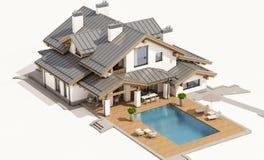 τρισδιάστατη απόδοση του σύγχρονου άνετου σπιτιού στο ύφος σαλέ Στοκ εικόνα με δικαίωμα ελεύθερης χρήσης
