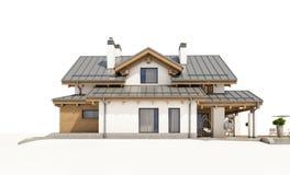 τρισδιάστατη απόδοση του σύγχρονου άνετου σπιτιού στο ύφος σαλέ Στοκ εικόνες με δικαίωμα ελεύθερης χρήσης