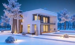 τρισδιάστατη απόδοση του σύγχρονου χειμερινού σπιτιού τη νύχτα Στοκ Φωτογραφία