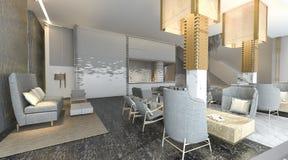 τρισδιάστατη απόδοση του όμορφου και λόμπι ξενοδοχείων πολυτελείας με τη συμπαθητική διακόσμηση Στοκ φωτογραφία με δικαίωμα ελεύθερης χρήσης