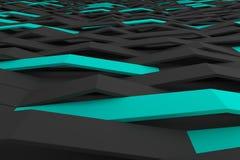 τρισδιάστατη απόδοση των μαύρων πλαστικών κυμάτων μεταλλινών με τα χρωματισμένα στοιχεία Στοκ Φωτογραφία