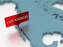 τρισδιάστατη αυτοκόλλητη ετικέττα παγκόσμιων χαρτών - πόλη του Λος Άντζελες Στοκ Φωτογραφία