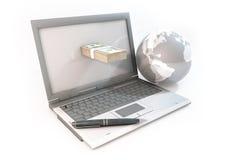 Τρισδιάστατη αφηρημένη επιχείρηση έννοιας on-line στον υπολογιστή με το δολάριο 100 Στοκ Εικόνες