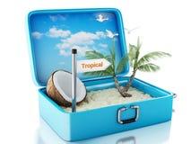 τρισδιάστατη βαλίτσα ταξιδιού παραλιών παραδείσου Άσπρη ανασκόπηση Στοκ εικόνα με δικαίωμα ελεύθερης χρήσης
