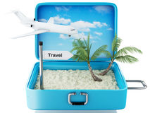 τρισδιάστατη βαλίτσα ταξιδιού παραλιών παραδείσου Άσπρη ανασκόπηση Στοκ Εικόνες