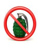 τρισδιάστατη βόμβα χεριών στο απαγορευμένο σημάδι στο λευκό Στοκ Φωτογραφίες