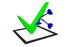 τρισδιάστατη γραφική παράσταση, σημάδι ελέγχου, σωστό, πίνακας ελέγχου, πράσινος, επιλογή, λύση, βέλη διανυσματική απεικόνιση