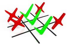 τρισδιάστατη γραφική παράσταση, σημάδι ελέγχου, σωστό, πίνακας ελέγχου, πράσινος, επιλογή, σπασμός-TAC-toe Στοκ φωτογραφία με δικαίωμα ελεύθερης χρήσης