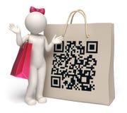 τρισδιάστατη γυναίκα με τη γιγαντιαία τσάντα αγορών κώδικα QR Στοκ φωτογραφία με δικαίωμα ελεύθερης χρήσης